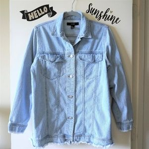F21 Distressed Oversize Blue Denim Jean Jacket M
